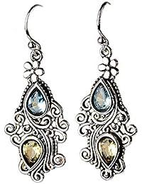 VWH Retro Style Openwork Flower Pendant Earrings Teardrop Shaped Crystal Dangle Hook Earrings