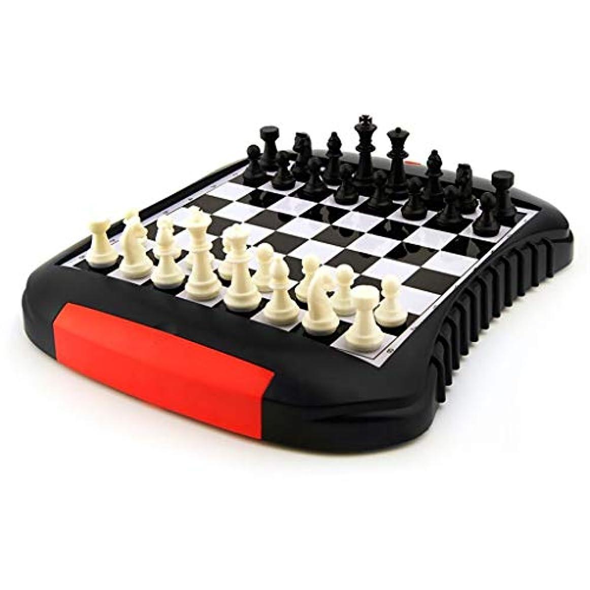 高品質おもちゃゲームチェス 磁気ABSチェスチェッカー子供学生初心者チェス折りたたみポータブル引き出しタイプチェス盤チェッカーチェス クリエイティブトラディショナルチェス (Color : Black+White, サイズ : 25.8*22*3CM)