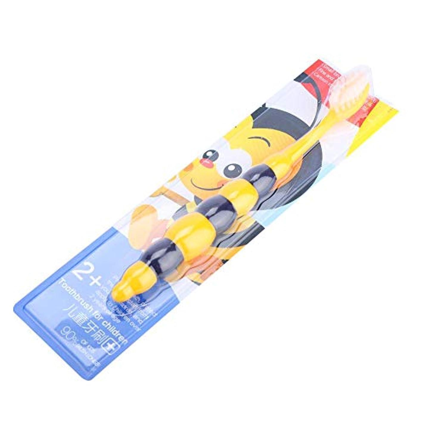 毎日プレーヤーツール子供の柔らかい髪の歯ブラシの子供かわいいクリーニングの歯ブラシオーラルケアツール(黄色い蜂)