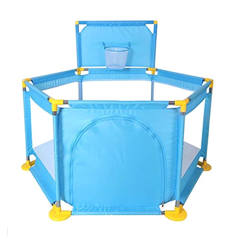 バスケットボールのフープ付きベビープレイペンターポータブルアンチロールオーバープレイヤード六面体アクティビティセンター6パネルPlay Play the Go Playard