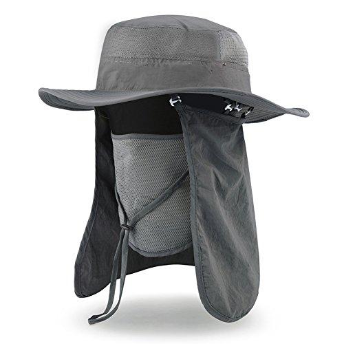VBIGER アウトドア 農作業用 帽子 UVカット フェイスカバー付き ガーデニング 釣り 登山 首までガード 紫外線 熱中症対策に(ダークグレー)