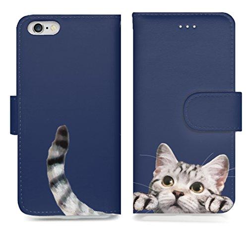 手帳型 iPhone X用 アイフォン Cat Cat Cat! 可愛い 猫のしっぽがチラリ デザイン イラスト スマートフォン カバー カード ポケット 付 スタンド 機能 マグネット式 (iPhone X, ネイビー(アメリカンショートヘア)) -