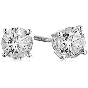 [アマゾンコレクション] Amazon Collection 14金ホワイトゴールド スクリューバックポスト付 ダイヤモンド スタッドピアス(1.0ct J-Kカラー,I2-I3クラリティ) ERBWG-100-OBS