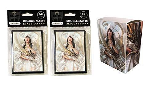 Let Sleeping Dragons Lie Design デッキボックス + 100 ダブルマットスリーブ (MTG、ポケモン、フォース・オブ・ウィル カードに対応)