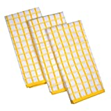 Urban Villa Terry Kitchen Towels, Premium Quality, 100% Cotton,Ultra Soft (Size: 20X30 Inch), Lemon Yellow/White Highly Absor