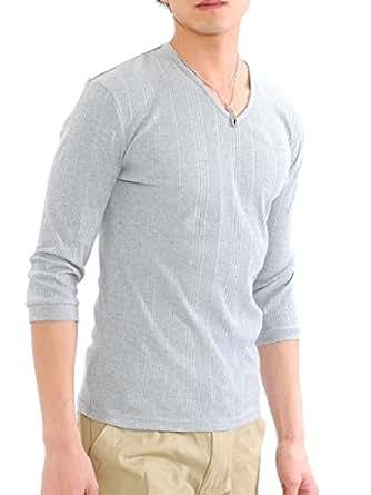 (スペイド) SPADE Tシャツ メンズ 無地 七分袖 半袖 カットソー Vネック【q424】 (S, ライトグレー)