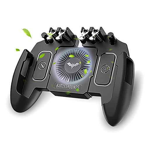【最新6本指】 荒野行動 PUBG Mobile ゲームコントローラー 冷却ファン付き ゲームパッド 引き金式高速射撃ボタン クリック感 優れたゲーム体験 エイムアシスト iPhone Android 等対応