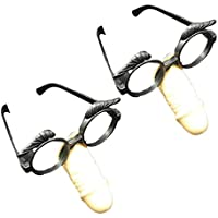 Amosfun Bachelor Party Glasses Penis Nose Glasses Funny Bachelorette Party Glasses Frame Halloween Party Long Nose Glasses 2pcs