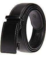 KEAILE ベルト メンズレザー オートロック式 本革レザー 革 カジュアル ビジネス 自動バックル 穴なし 紳士 コンフォートベルト ギフト箱付き ブラック/ブラウン