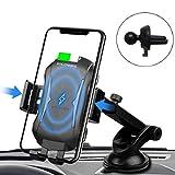 車載Qi ワイヤレス充電器【究極進化版】車載 ホルダー-10W/7.5W急速ワイヤレス充電器車載スマホホルダー 360度回転 粘着式&吹き出し口2種類取り付 iPhone X/XR/XS/XSMAX/8/8 Plus/Galaxy S10/S9/S8/S8 Plus/S7/S7 Edge/S6/S6 Edge/Note 8/Note 5/Nexus 5/6等に適用ワイヤレス充電機種に対応
