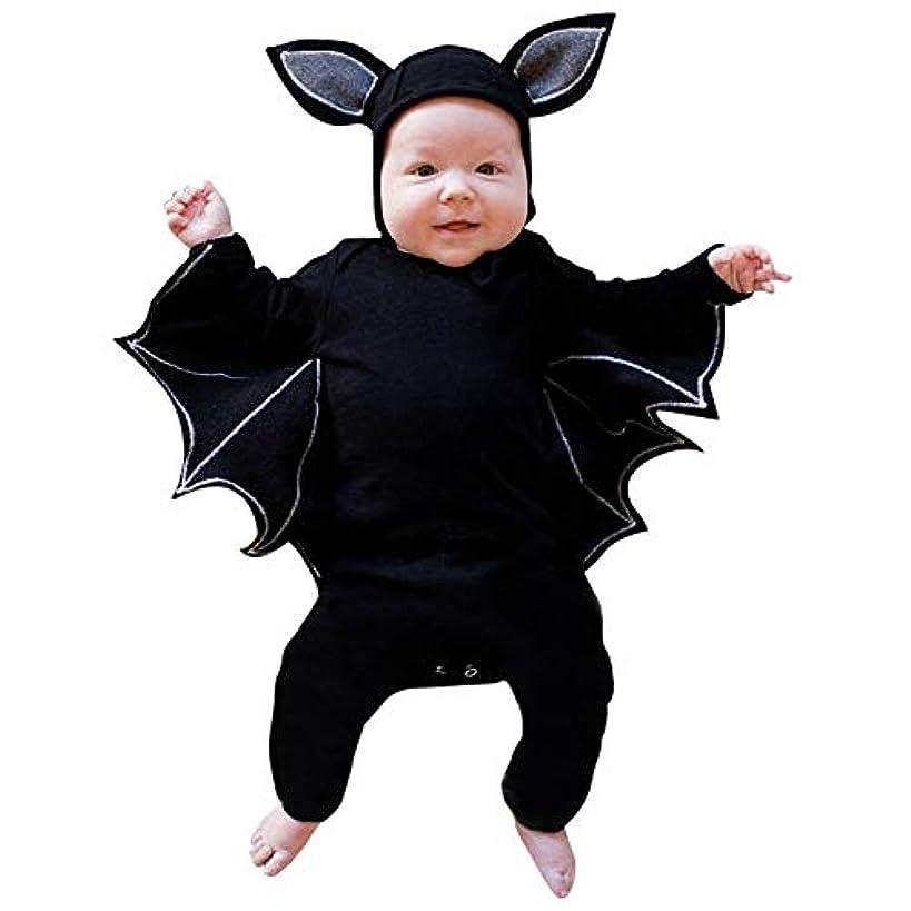 Wyntroy ベビー服 ハロウィーンの衣装 新生児 素敵な 半袖 ロンパース 可愛い バットデザイン ベビージャンプスーツ ベビートップス ハロウィン 出産祝い 赤ちゃん お祝いの ベビースーツ シャツ Halloween