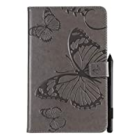 Abtory Amazon Kindle Paperwhite 1 2 3 4 ケース, [Butterfly Embossing] PU Leather Cover with Auto Wake/Sleep Compatible with Amazon Kindle Paperwhite 1 2 3 4 Grey