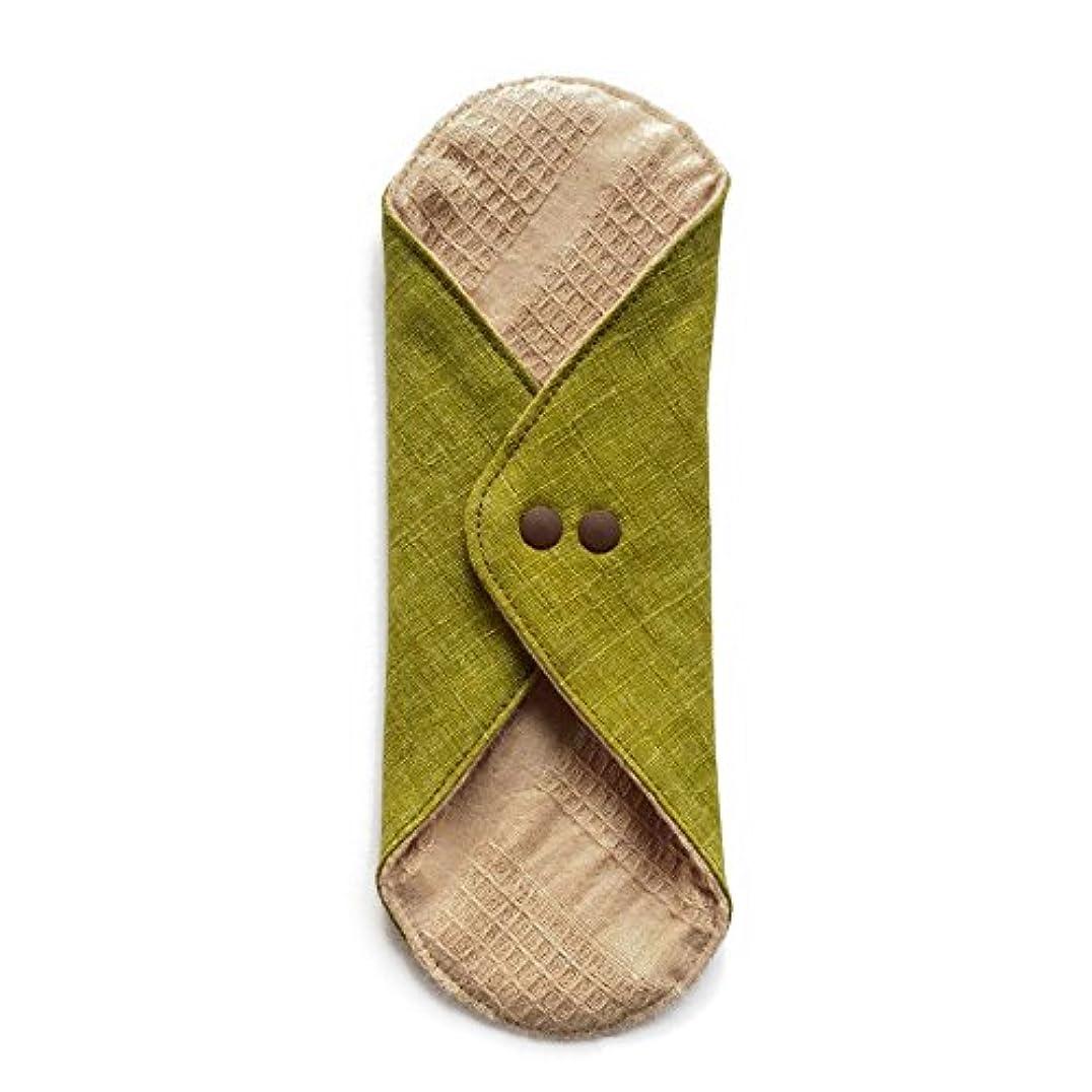 ペレット深く緑華布のオーガニックコットンのあたため布 Lサイズ (約18×約20.5×約0.5cm) 彩り(抹茶)