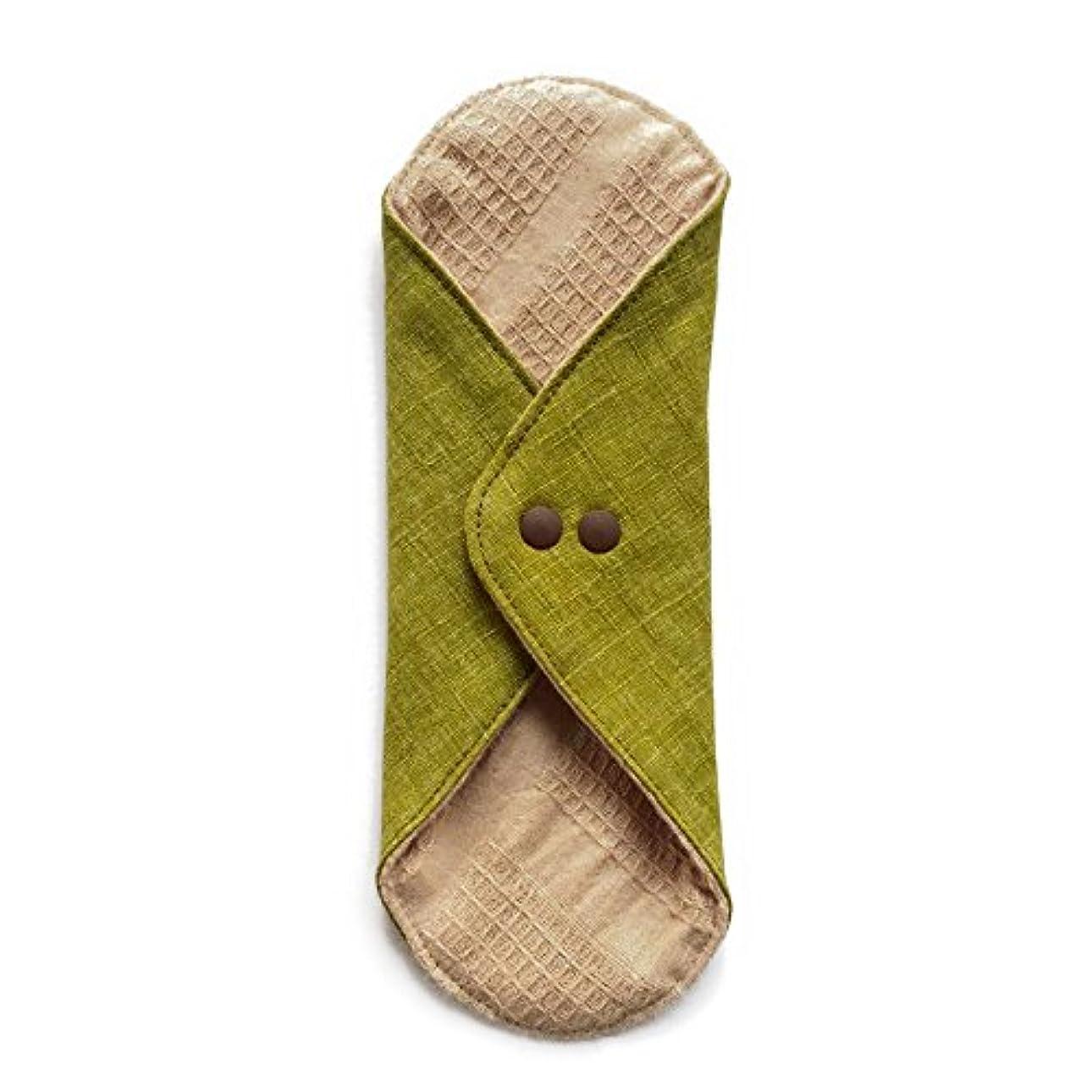 カウンタカヌー縞模様の華布のオーガニックコットンのあたため布 Lサイズ (約18×約20.5×約0.5cm) 彩り(抹茶)