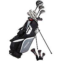 PreciseGolf Co. M5 メンズコンプリートゴルフクラブパッケージセットには、次のものが含まれます。チタンドライバー、S.S.フェアウェイ、S.S.ハイブリッド、S.S. 5-PWアイアン、パター、スタンドバッグ、ヘッドカバー(3つ)