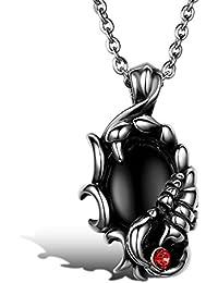 JewelryWe メンズ ネックレス,チョーカー,ペンダント トップ ヘッド コンビ セット, バイカーズ ゴシック サソリ スコーピオン 蠍,ガラス, ステンレス, カラー:レッド; シルバー(銀)