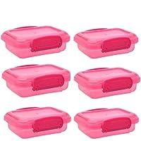 スナック容器 6個パック 小型 プラスチック製 ロックトップ蓋付き ランチフードストレージ 子供 ランチスナック キャンプ ハイキング用 ピンク