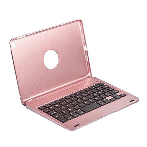 HEXIN iPad mini4 カバー Bluetooth キーボード 合体型 のクラムシェルデザイン オートスリープ スタンド機能あり ワイヤレス bluetoothキーボード かっこいい ABS樹脂材質のキーボード (ローズゴールド)