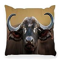装飾的な枕カバー20x20のアフリカのバッファロー牛の肖像クルーガー国立公園アフリカの写真野生動物動物アンテロープと動物の家の装飾ジッパー付き枕カバー 45X45 CM