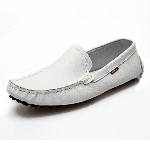 [QIFENGDIANZI] ドライビングシューズ 靴 シューズ 男性用 メンズ スリッポン デッキシューズ モカシン ローファー カジュアルシューズ ビジネスシューズ 蒸れない コンフォート ソフト 通気 履き心地よい 紳士用 白 27.0cm