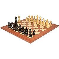 デラックス古いClub Stauntonチェスセットin Ebonized Boxwood & Boxwood with Mahogany & Mapleデラックスチェス