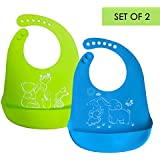 DIRECT FROM FACTORY Waterproof Silicone Baby Bibs (Set of 2) with Food Catcher Pocket – BPA Free, Food Grade Feeding & Weaning Bib for Toddlers, Boys & Girls - Adjustable, Roll Up Design Green & Blue
