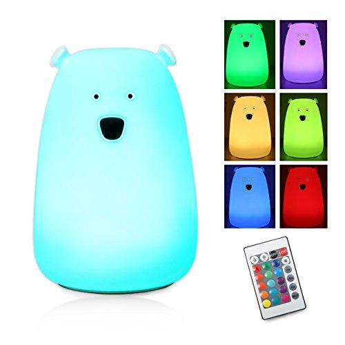 SOLMORE 萌えベアシリカゲルランプ 熊呼吸ランプ ベッドサイトランプ LED デスクライト 夜間照明 ナイトライト 小夜灯 多色グラデーション光 USB充電 リモコン付き 寝室 子供用 DC 5V