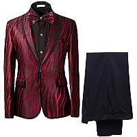 Cloudstyle Men's Suit Shawl Collar One Button Red Dress Suit Smart Fit Stylish Blazer Pants