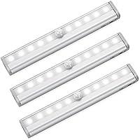 AMIR センサーライト 人感センサー LEDライト マグネット付き 自動点灯消灯 電池式 ワードローブライト 10 LED ワイヤレス 貼り付け型 防犯 風呂場 廊下 階段 光センサー LEDナイトライト 昼光色 3本セット