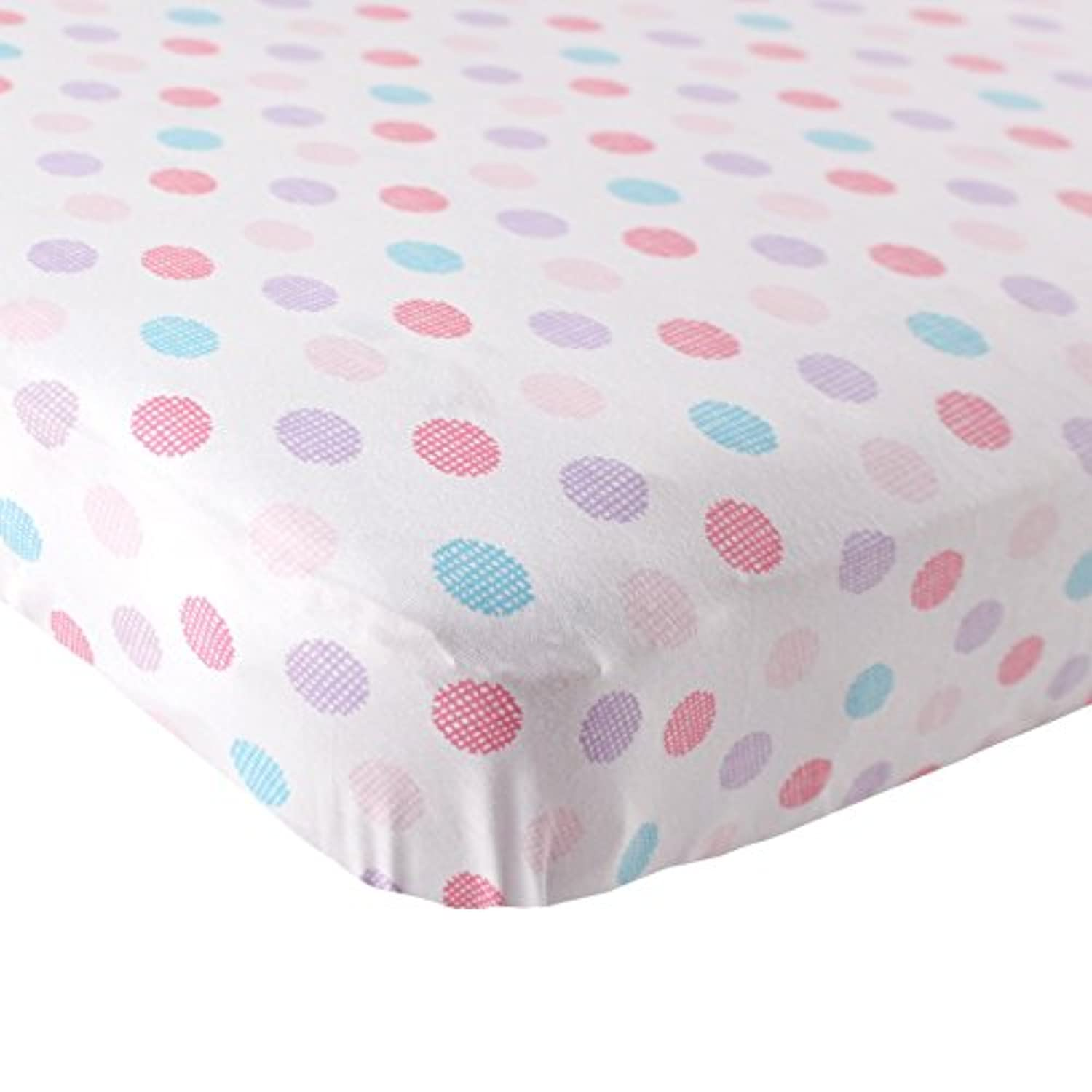 Luvable Friends Fitted Knit Cotton Crib Sheet Crosshatch Dot, Pink by Luvable Friends