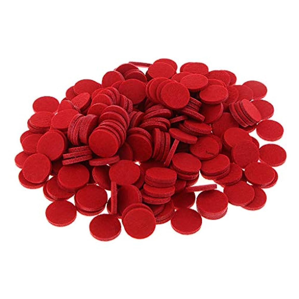 スカート前投薬退屈させるFenteer 約200個入り 詰め替えパッド 精油付き アロマディフューザー 交換用 オイルパッド 全11色 - 赤