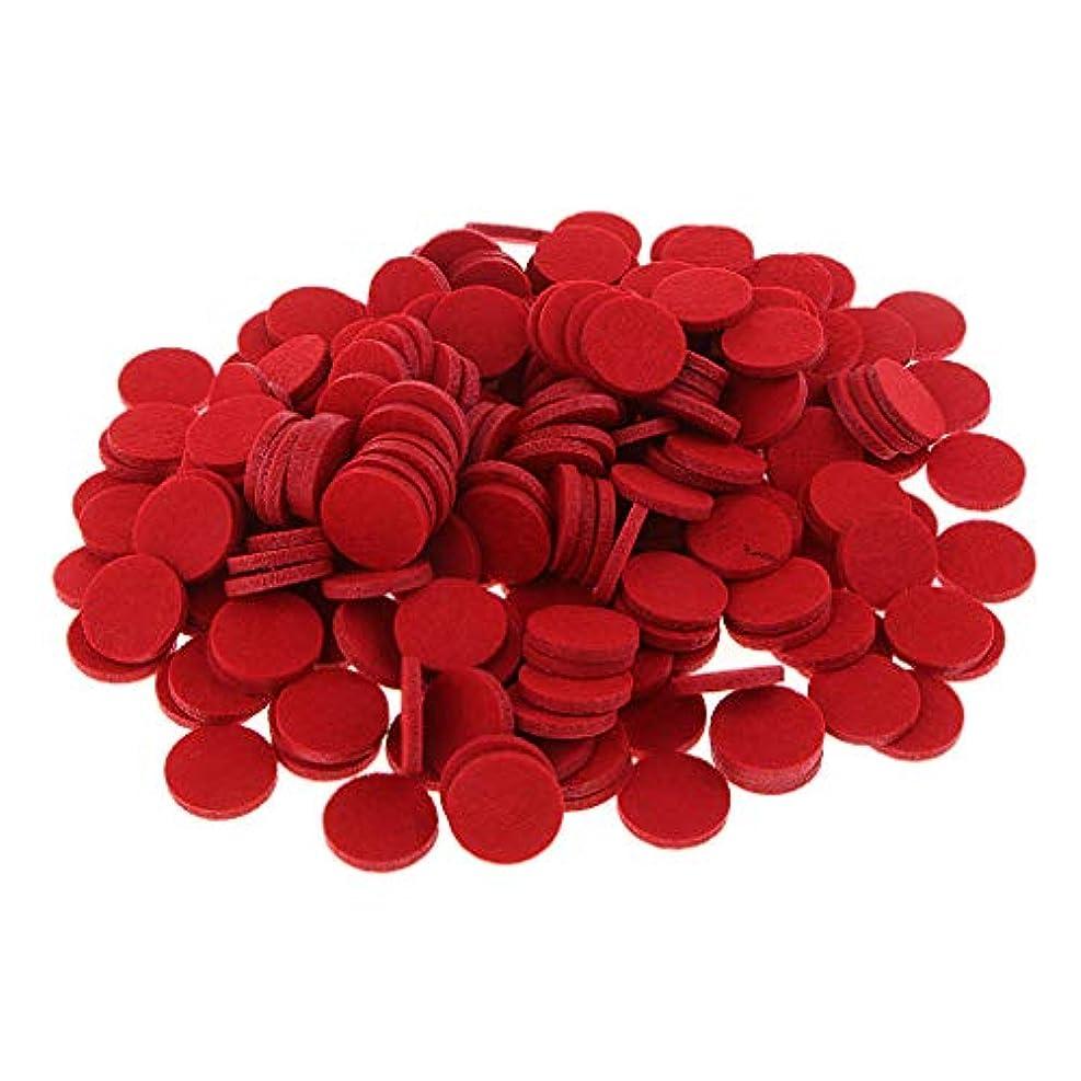 リダクター交通メジャーFenteer 約200個入り 詰め替えパッド 精油付き アロマディフューザー 交換用 オイルパッド 全11色 - 赤