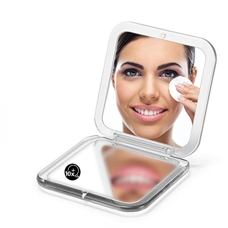 操作可能症候群良さ両面は鏡を折り畳みます、 5X拡大鏡90ミリメートルポケットスクエアハンドヘルド旅行化粧品 (シルバー)