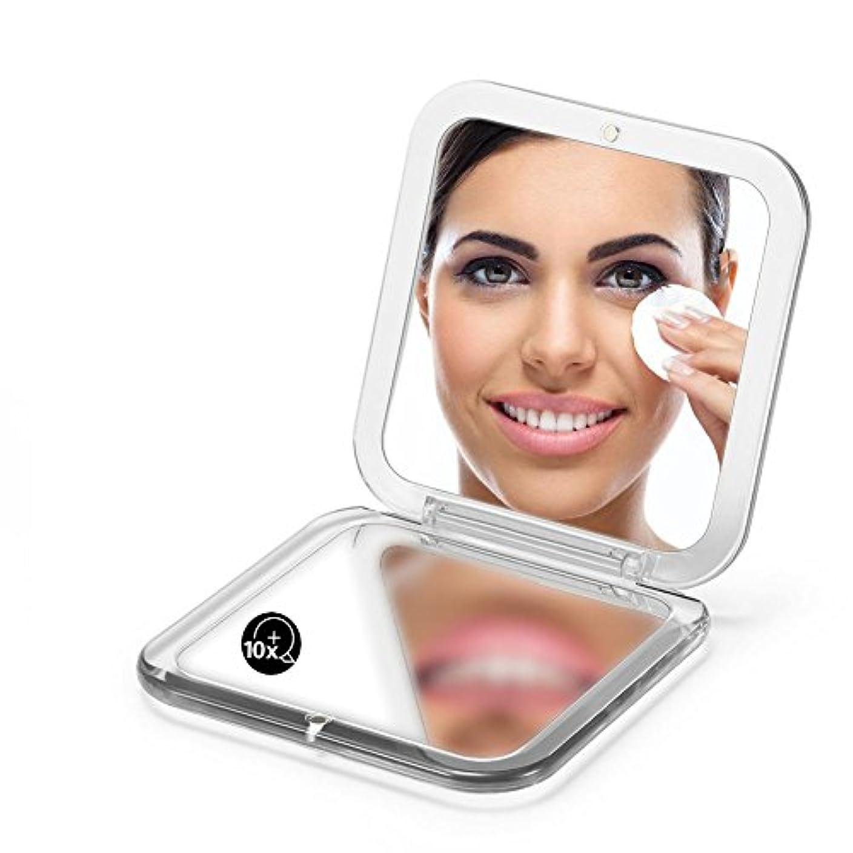 リーン賢い未接続両面は鏡を折り畳みます、 5X拡大鏡90ミリメートルポケットスクエアハンドヘルド旅行化粧品 (シルバー)