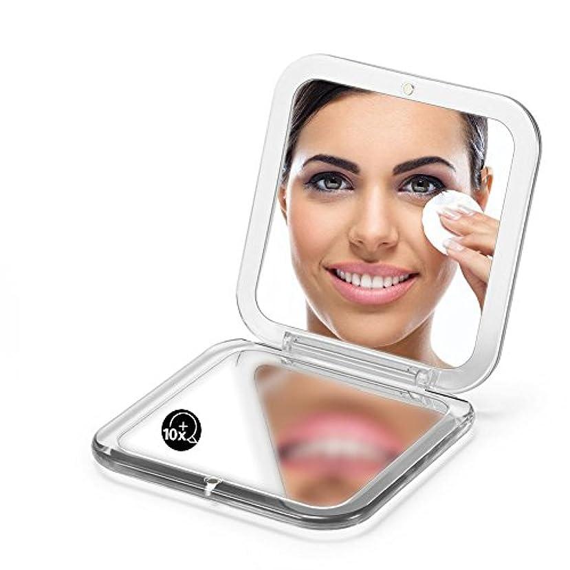 ひねりきちんとした同等の両面は鏡を折り畳みます、 5X拡大鏡90ミリメートルポケットスクエアハンドヘルド旅行化粧品 (シルバー)