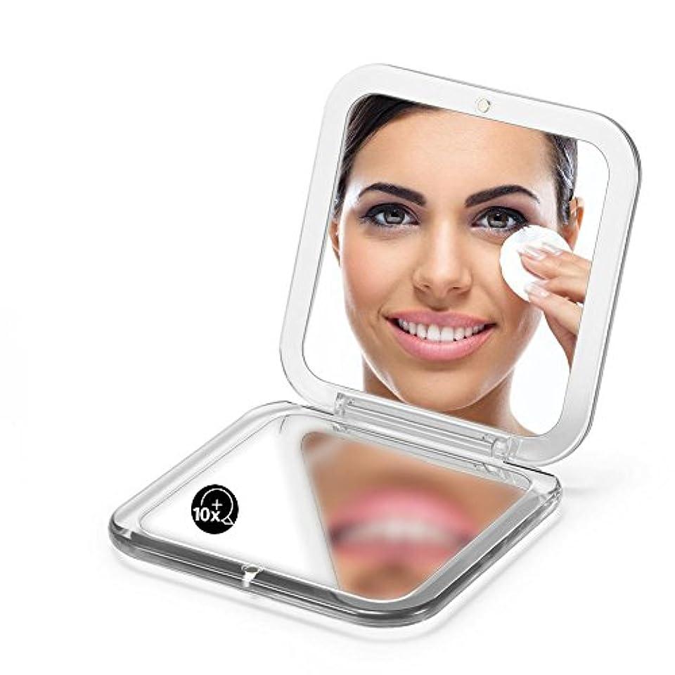 両面は鏡を折り畳みます、 5X拡大鏡90ミリメートルポケットスクエアハンドヘルド旅行化粧品 (シルバー)