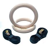RubberBanditz 木製 体操リング 16フィート 調節可能なストラップ付き 2本の滑り止めトレーニングジムリング ディップ/懸垂/筋肉アップに最適