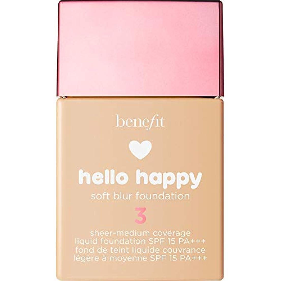 男らしさワイドコミュニティ[Benefit ] 利益こんにちは幸せなソフトブラー基礎Spf15 30ミリリットル3 - ニュートラルライト - Benefit Hello Happy Soft Blur Foundation SPF15 30ml...
