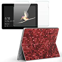 Surface go 専用スキンシール ガラスフィルム セット サーフェス go カバー ケース フィルム ステッカー アクセサリー 保護 チェック・ボーダー 赤 シンプル 002564