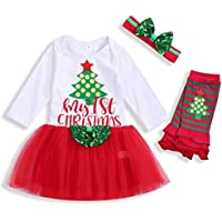 Christmas Outfits Newborn Infant Baby Girls My First Christmas Dresses Tutu Dress Skirt Set Fall Clothes
