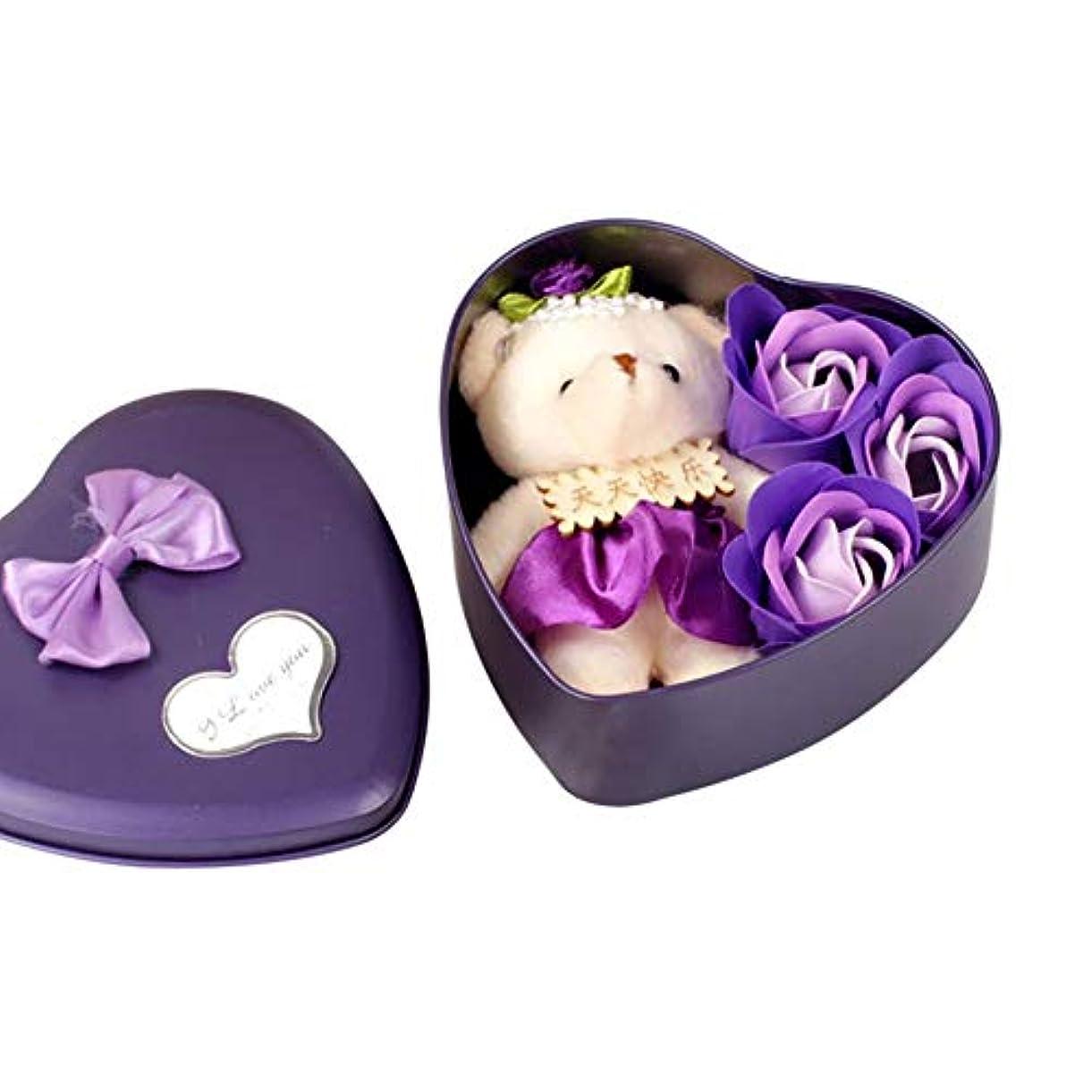 オークション対話ヒロイン3個 香り バラの花 花びら ハート形 ギフト ボックス クマ バス ボディソープ ギフト ウェディング パーティー