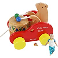jouernow walk-a-long Bear Knock Theドラム木製プッシュand Pull Toy
