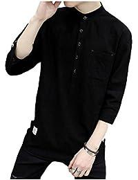 [モルクス] シャツ カジュアル 七分袖 リネン コットン 無地 黒 メンズ