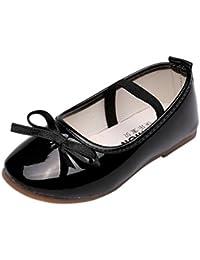 Tonsee キッズ シューズ 子供靴 女の子 フォーマル シューズ PUレザー プリンセスシューズ ドレス フォーマル 滑り止め 入園式 卒業式 結婚式 入学式 14.5CM-20CM (19CM, ブラック)