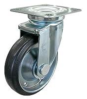 ユーエイキャスター:Jシリーズ J型 自在キャスター ゴム(鋼板ホイル,B入)車 車輪径φ150 メーカー型式:WJ-150