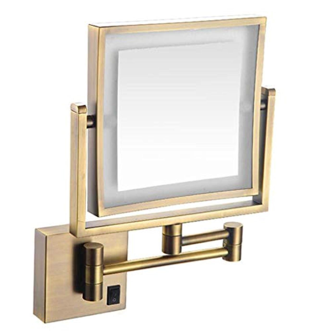 大学院ピンアートHUYYA バスルームメイクアップミラー LEDライト付き、3 倍拡大鏡 8インチ化粧鏡 シェービングミラー 壁付 バニティミラー 両面 寝室や浴室に適しています,Antique_Powered by Plug