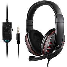 Etpark ゲーミングヘッドセット 3.5mm ヘッドホン 密閉型 高音質 マイク付き コネクタ 伸縮可能ヘッドアーム ブラック PS4 Xbox One iPhone スマホなどに対応