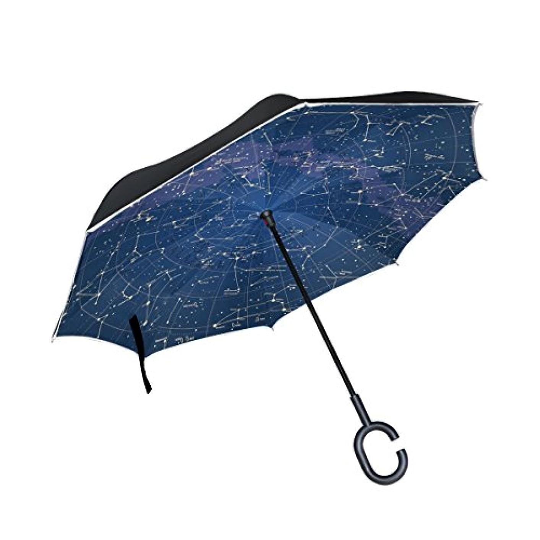 冗談で警戒独立したマキク(MAKIKU) 逆折り式傘 逆さ傘 長傘 日傘 星座柄 宇宙 ブルー 晴雨兼用 UVカット 自立式 手離れC型手元 耐風 紳士傘 婦人傘 ビジネス用 車用