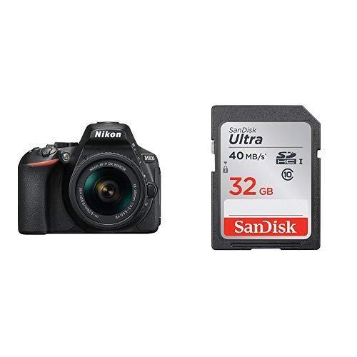 Nikon デジタル一眼レフカメラ D5600 AF-P 18-55 VR レンズキット ブラック D5600LKBK + SanDisk ウルトラ SDHCカード 32GB Class6 UHS-I [エコパッケージ]