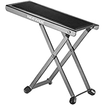 Neewer NW001 Adjustable Guitar Foot Stool, Sturdy Solid Iron Pedal Rest with 6 Fixed Height Positions Non-slip Rubber End Caps and Pad for Classical Flamenco Acoustic or Electric Guitar Players(Black)